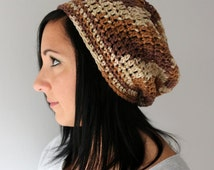 Brown Shades Slouchy Beanie Hat, Crochet Slight Slouchy Beanie, Unisex Toque