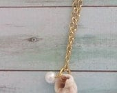 Conch Seashell with Pearl Gold Necklace. Beach Wedding. Bridesmaid Gift. Simple. Ocean Theme.  Nautical. Gift for Her.