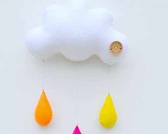Childrens mobile, Hand sewn (Aussie sunset) raincloud with 3 drops