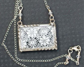 Necklace, Lace Pendant, Soldered Jewelry,, Vintage Ivory Lace