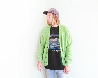 vintage cardigan / grandpa cardigan / oversize / 1970s light green cardigan XL