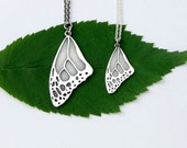 Monarch wing sterling silver butterfly wing necklace