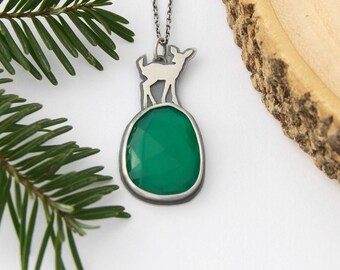 Green onyx and fawn necklace - handmade sterling silver deer necklace pendant