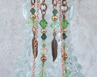 Handmade copper chandelier earrings with green/champagne Swarovski crystals, copper feathers, Swarovski pearls, ready to ship, gift wrapped