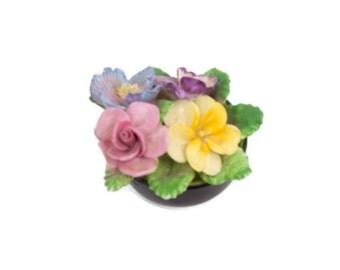 Vintage COALPORT Bouquet Sculpture England Bone China Floral Figurine Porcelain Flowers Pink Yellow Lavender