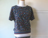 Cute Vintage Navy Top with Orange/Yellow/Aqua Polka Dots - New Wave/Synth Pop/'80s B Girl Plus Size Navy Blue Top - XL Polka Dot Blouse