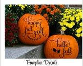 Happy Fall Pumpkin Decal Hello Fall Pumpkin Decal Small Decals Fall Front Porch Pumpkin Decor Vinyl Decals Fall Porch Decor Holiday Seasonal