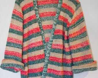 70s Vintage Open Front Boho Faded Stripe Sweater