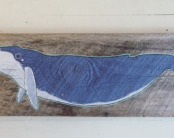 Humpback whale on reclaimed Maine barnwood