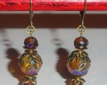 Aurora Borealis Amber Root Beer Crystal Dangle Pierced Leverback Lever Back Drop Earrings