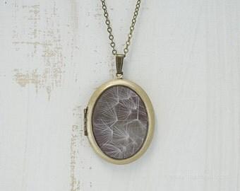 Dandelion Photo Locket   Art Jewelry   Photography   Brass Oval Locket   Necklace   Pendant   Floral Nature Neutral Tones