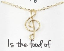 Treble Clef Necklace, Wire Musical Symbol Handmade Necklace, G Clef Pendant Musical Note Jewelry, 14K Gold Filled Wire, Music Lovers Gift