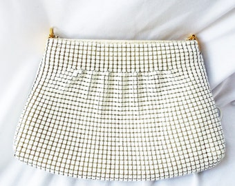 vintage Pleated White Metal Dura Mesh Purse Shoulder Strap Bag