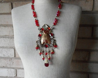 Vintage Art Deco Red Czech Glass Scarab Beetle Fly Egyptian Revival Festoon Statement Necklace