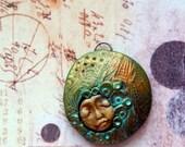 The Guardian Series pendants, polymer clay, focal bead, goddess, talisman, green, orange, turquoise, gold