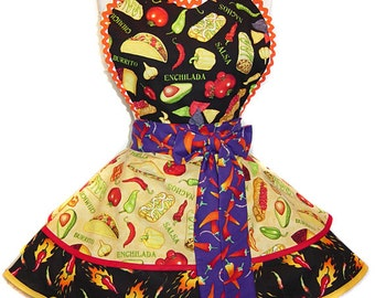 Ready To Ship Mexican Food Retro Diner Style Apron -- A  Tie Me Up Aprons 2015 Exclusive Design