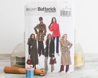 Sizes 14 - 20, Full length wrap coat, shawl collar, Buttterick 5297 Sewing Pattern