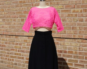 Vintage 70s Lace Crop Top - Hot Pink Lace Blouse, Lingerie Top - M/L