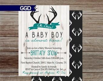 Rustic Deer Baby Shower Invitation, wood invitation, deer baby shower, baby boy shower invitation, rustic baby boy shower