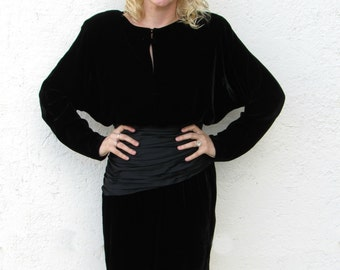 Black Velvet LBD - Blouson Long Sleeved Black Dress SZ 4 - 6 A.J. BARI Dress