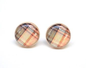 Plaid Stud earrings, plaid earrings, plaid stud earrings, twig, woodland, spring fashion, gift for her, mom gift #2