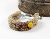 Tribal Friendship Bracelets, Bohemian Fashion, Handmade, Woven, Ethnic Tribal, Natural Rope, Adjustable Bracelet, Gift for her, Colorful