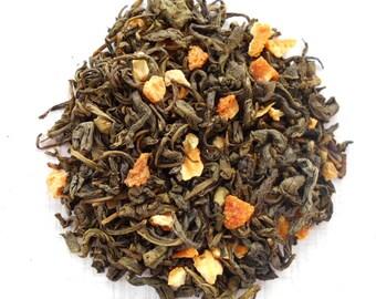 ORANGE PASSION Organic Green Tea,Orange Passionfruit Green Tea, Loose Leaf , Iced Tea, Fruity Tea, Caffeinted , 1oz Earth Friendly Package