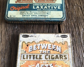 Vintage Cigar Tin and Vintage Laxative Tin Rexall Orderlies Laxative Tin and Between The Acts Little Cigars Tin