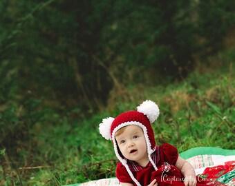 Santa Bear Baby Hat, Newborn Earflap Beanie with 2 Pom-Poms