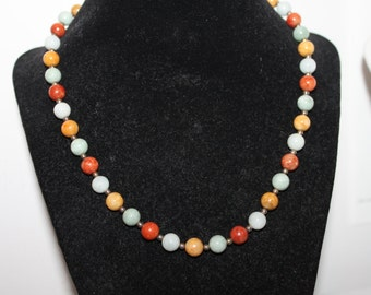 Sterling Silver and Multi Colored Stones Necklace