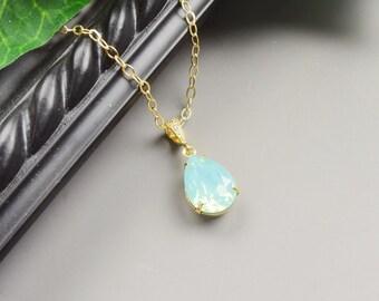 Mint Necklace - Mint Green Swarovski Crystal Necklace - Swarovski Teardrop Necklace - Mint Green Bridesmaid Jewelry - Wedding Jewelry