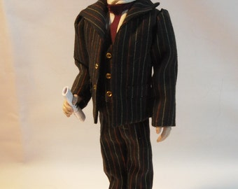Dollhouse Doll, Edvard, 12th scale Gentleman Made by Linda Elgenes by Snowflake Miniatures.