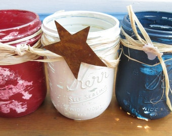 Ready to Ship!  Set of Three Quart SizeRustic Shabby Chalk Painted Jars/Red White and Blue Jars/4th of July Painted Jars/ Patriotic Jars