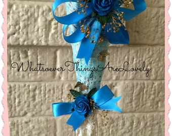 Tussie Mussie, Victorian Wall Decor, Floral Design for the Wall, Turquoise Colors, Christmas Ornament, Handcrafted Wall Decoration