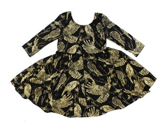 Twirling Dress with Long Sleeves and Scoop Neck in Gold on Black 'Birds of Prey' Print