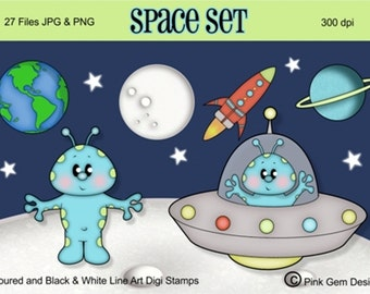 Digi stamps Space Set. 7 Digi Stamps Included in Both Black & White Line Art and Coloured Images