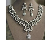 Bridal Jewelry, Bridal Necklace, Pearl Necklace, Swarovski crystal and pearl bridal necklace and earrings set (Barona)