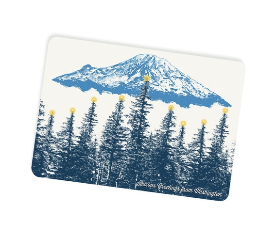 Holiday Washington Themed Postcards - Mt. Rainier Star Lit Forest - Single or Set