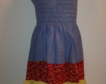 Vintage Girls Smocked Summer Dress by Classix Size 8 d9