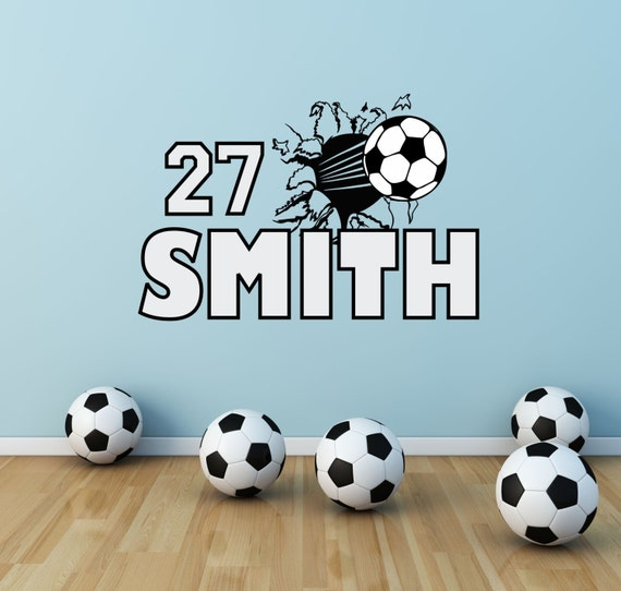 soccer wall decal soccer name decal soccer decor football. Black Bedroom Furniture Sets. Home Design Ideas
