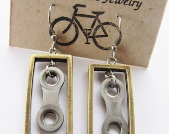 Bicycle Chain Link Earrings - Antique Brass Rectangle - Recycled Jewelry - handmade - bike