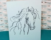 Set of 6 Hand Stamped Horse Note Cards