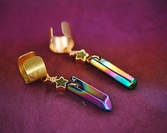 Rainbow Quartz Gold Star Ear Cuffs | Steven Universe Quartz | Crystal Point | Crystal Gem | Gemstone Ear Cuff | Ear Cuff Pair | Rose Pearl