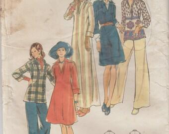 70s Caftan Pattern, Women's Shirt Pattern, Misses Pants Pattern | Butterick 3356 | 1970s Pullover Dress | Elastic Waist Pants | Flared Pants