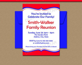 Printable Family Reunion Invitation Template - EDITABLE Family BBQ Invites - Family Picnic Invitations - Fourth of July Party Invites PDF