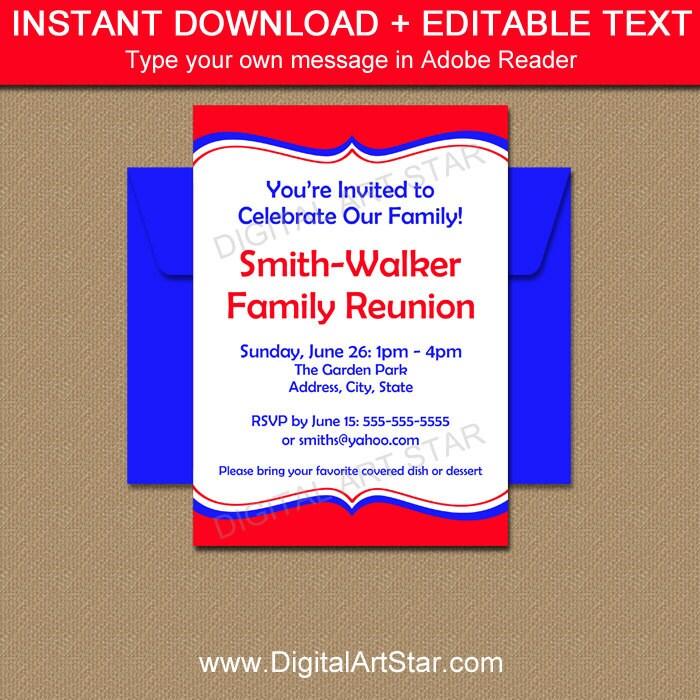Printable Family Reunion Invitation Template EDITABLE Family