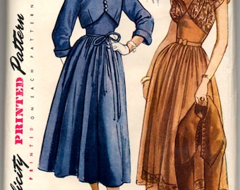 """1950's Simplicity One-Piece Dress with Cap Sleeve and Bow detail and Bolero Pattern - Bust 32"""" - No. 3003"""