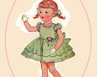 Simplicity 3808 Vintage 50s Adorable Toddler Girls Scallopped Hem Dress Mother Daughter Fashion Sewing Pattern Size 3