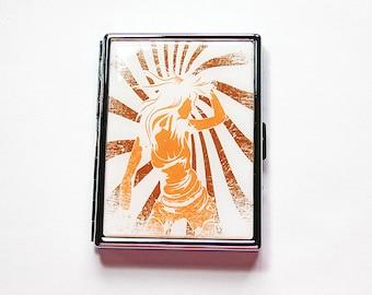 Slim Cigarette Case, Metal Wallet, Rock, Woman Dancing, Silhouette of a girl dancing, Case for pot, retro design, gift for him (5952)