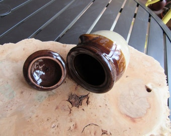 Vintage Shabby Country Cottage Chic Brown Glaze Sugar Bowl